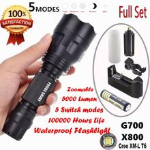 Big discount 2017 NEW X800 C8 Tactical Flashlight LED Zoom Military Torch G700 Battery Charger  S98