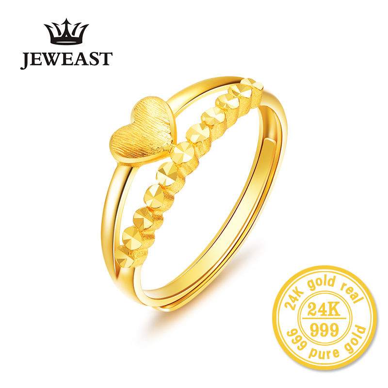 24K Gold Ring Real Pure Solid Au999 Yellow Gold Love Row Circle Ring Female Model Ring Gift As Girlfriend Exquisite Jewelry new pure au750 rose gold love ring lucky cute letter ring 1 13 1 23g hot sale