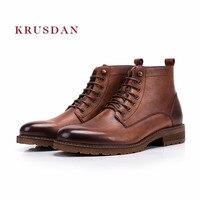 KRUSDAN модные зимние короткие Ботинки Martin Мужские Ботинки коричневый Ботильоны из натуральной кожи обувь на шнуровке Для мужчин Повседневное