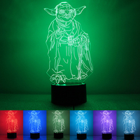 N4 2017 Star Wars Yoda 3D Illusion LED Night Light Touch Switch Acrylic Colorful Gradient Lighting Table Lamp Home Decor 7colors