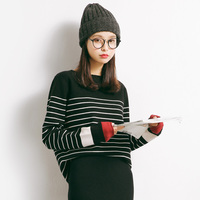 2017 Autumn New Sweater Korean Elasticity Was Thin Round Collar Slim Shirt Female M79