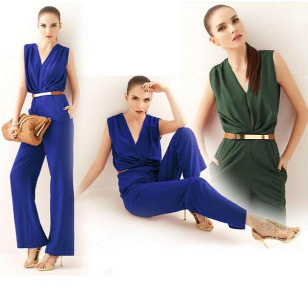 8abd534216b7b AQ91 Summer Elegant Women Clothing Pinched Waist Long Pants Ladies Bodysuit  V Neck Sleeveless Pockets Jumpsuits-in Jumpsuits from Women's Clothing & ...