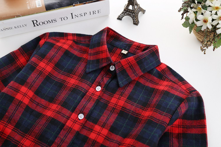 2018 Fashion Plaid Shirt Female College Style Women's Blouses Long Sleeve Flannel Shirt Plus Size Casual Blouses Shirts M-5XL 43