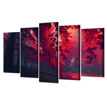 HD Print 5 Pieces Canvas Art Red Forest Painting Modular Framed Canvas Home Decor Poster For Living Room Free Shipping Abooly
