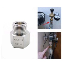 Paintball Sodastream Bottle Tank Cylinder adapter converter  Tr21-4 female to w21.8 male Or CGA 320 for home brew or aquarium.