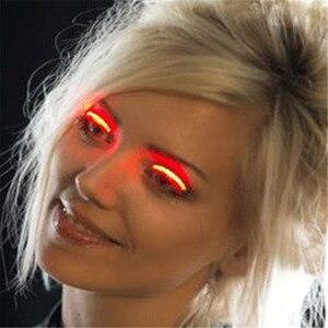 Image 2 - האופנה יוניסקס LED אור מזויף False ריס זוהר הניצוץ ריס עבור המפלגה בר איפור עיניים לאש ריסים מלאכותיים עפעף 20 #626