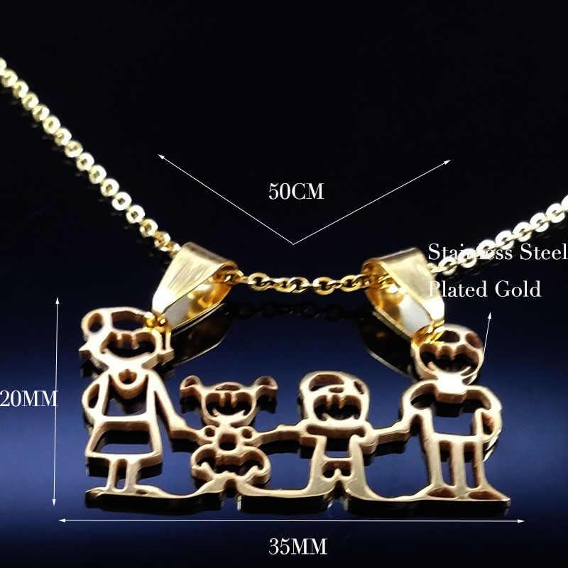 Горячая Распродажа, семейное ожерелье s, для мальчиков, детей, женщин, Золотая цепочка, ожерелье из нержавеющей стали, ювелирные изделия, подарок на день Святого Валентина, joyas ND310A