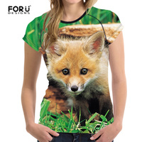 FORUDESIGNS 3D Cute Fox Printed Women Summer T-Shirt Elastic Woman Tops Fashion T-shirt For Girls Female Lady Tees Brand Clothes