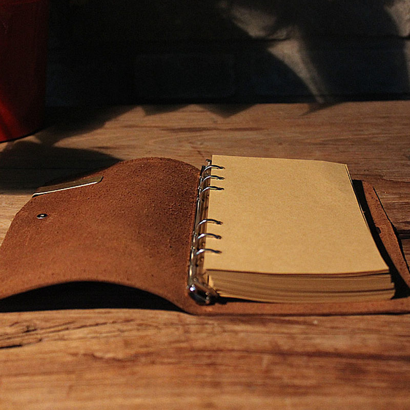 Фото A5 A6 A7 Spiral Genuine leather Notebook, Loose Leaf Retro Diary Book 80 sheets kraft paper