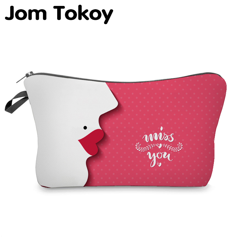 Jom Tokoy Cosmetic Organizer Bag Make Up Miss You Heat Transfer Printing Cosmetic Bag Fashion Women Brand Makeup Bag
