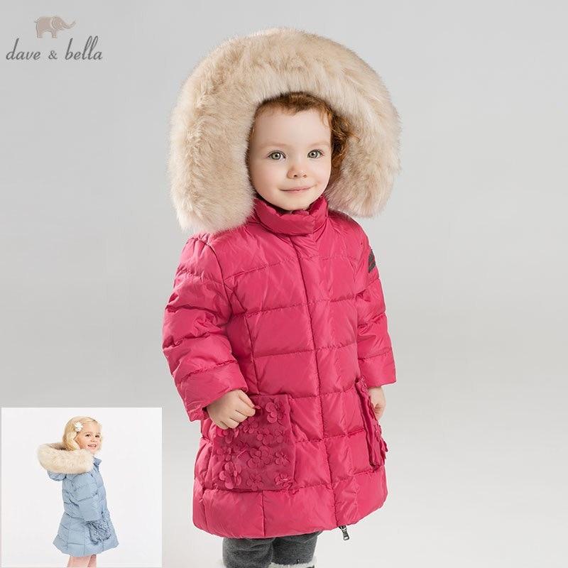 24a15ead9 DB6099 dave bella winter baby girls down jacket children 90% white ...