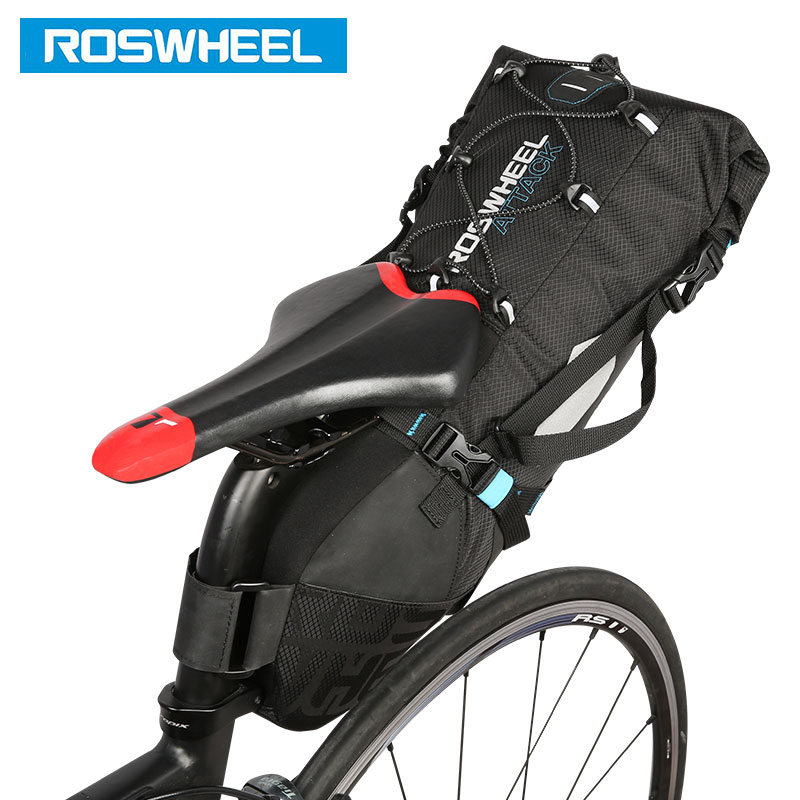 ROSWHEEL Attack #131372 Bicycle Seatpost Bag Bicycle Saddle Seat Storage Pannier Cycling MTB Road Bike Rear Pack Water tight wheel up bicycle rear seat trunk bag full waterproof big capacity 27l mtb road bike rear bag tail seat panniers cycling touring