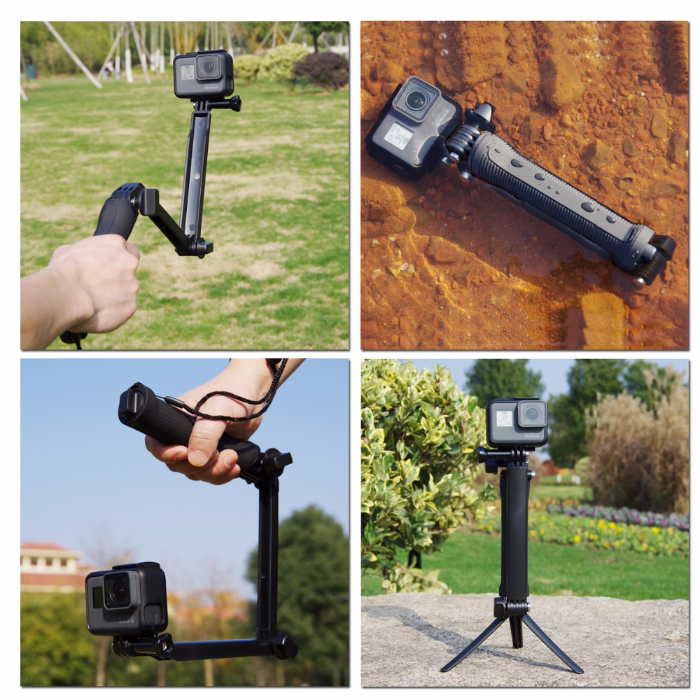 Lightdow 3 Way Waterproof Monopod Selfie Grip Tripod Mount For Gopro Hero 5 4 Session 3 SJ4000 Xiaomi Yi 4K Sport Action Camera akaso 3 way grip waterproof monopod selfie stick for gopro hero 5 4 3 session ek7000 xiaomi yi 4k camera tripod go pro accessory