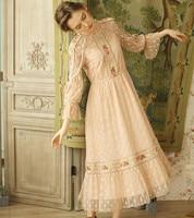 Магазин Jessica's Store Весна Осень женское винтажное милое с круглым вырезом расклешенное рукав вышивка кружево повседневное свободное розовое
