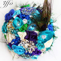 Bride Creative peacock feather bouquet, New arrival Romantic Wedding Sky blue & purple flowers brooch bridal Bride 's Bouquets