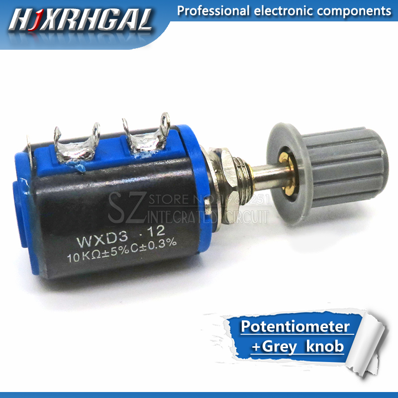 1pcs WXD3-12-1W 100 220 470 1K 2K2 3K3 4K7 10K 22K 33K 47K Ohm 100R 220R  2.2K 3.3K 4.7K WXD3-12 1W Potentiometer + 1 Grey Knob