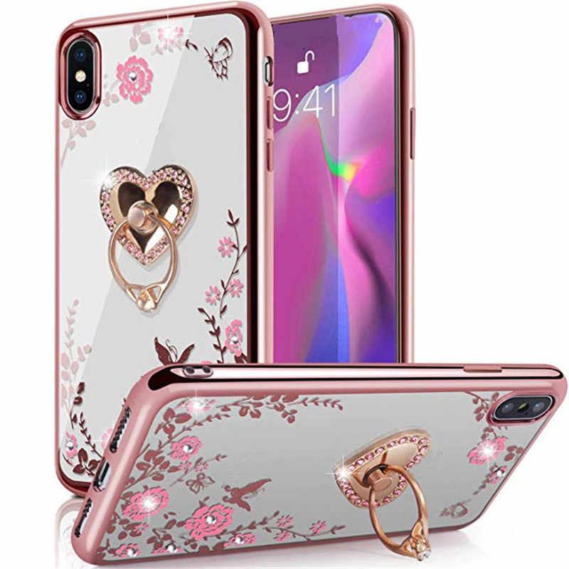 Luxury Bling Flower Soft TPU Phone Case for Samsung Galaxy M10 A10 A30 A50 S10 PLUS A6 A7 A9 2018 Glitter Anti-knock Shell Cover