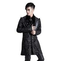 Punk Men Formal Jackets Gothic Royal Print Dress Coats Outerwear Palace Court Party Cotton Jackets