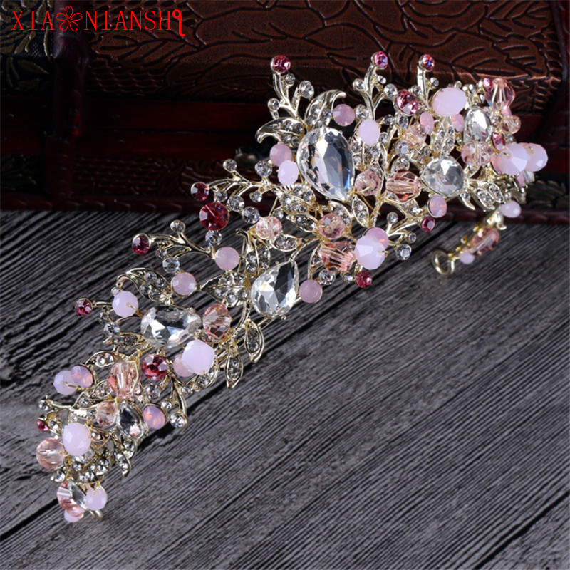 XIAONIANSH Luxury Magnificent Diadem Clear Crystal Bridal Tiaras Flower Wedding Crown for Bride Wedding Pageant Hair Accessories