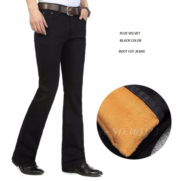 Fashion Winter Warm Mens Black Thicken Velvet Boot Cuts Casual Jeans Men Skinny Flared Jeans Bell Bottom Fleece Jeans 3Xl 4Xl 36 8