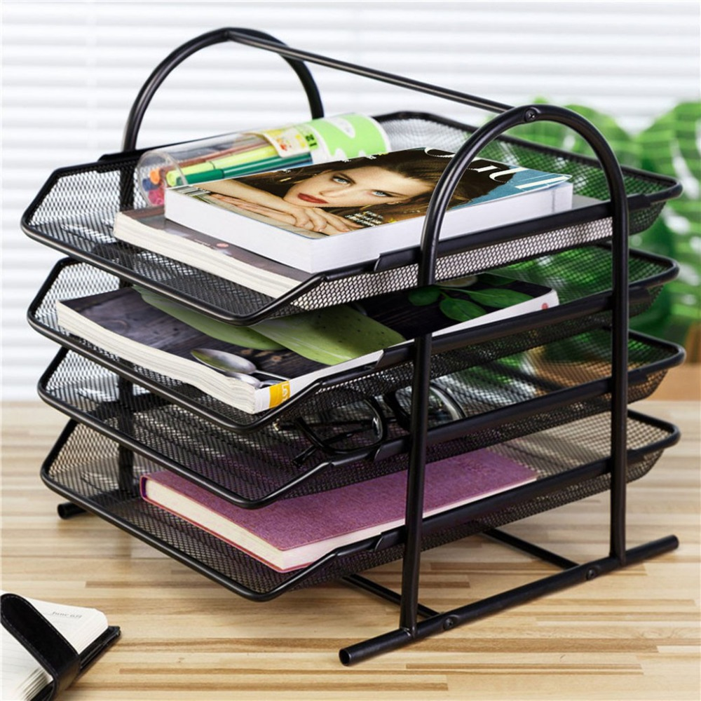 4-Tier File Rack Metal Mesh Letter Tray Scratch-Resistant Stackable Office A4 Paper Organizer Document File Holder U17@Z (1)