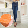 Winter long warm thick velvet skinny jeans for woman plus size  blue demin trousers skinny ladies pencil pants Femme Pantalon