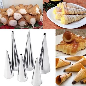 3pcs/set Stainless Steel Spiral Baked Croissants DIY Horn Baking Cake Mold for cream horns chocolate cones Mother day Dessert steel casing pipe