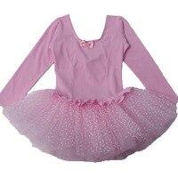 Hot Sale Pink Long Short Sleeve Flash Dot Girls Kids Skate Dance Birthday Party Leotard Ballet