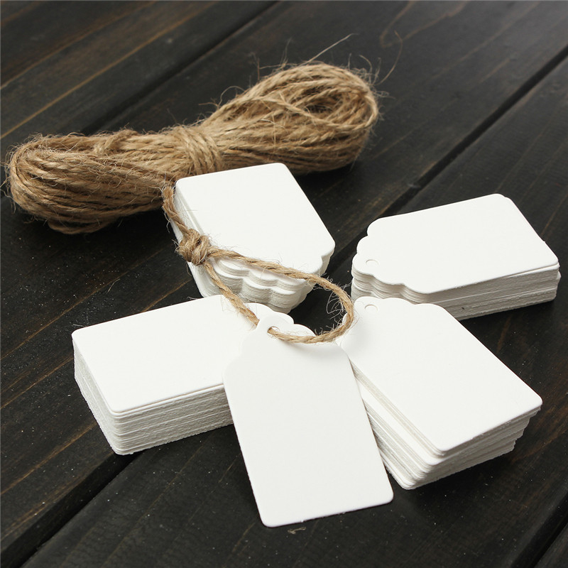 100pcs/Set Kraft Paper Gift Tags Card Wedding White Scallop Label Blank Luggage Mini Paper Card With 8m Strings