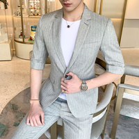 Loldeal Casual Tuxedo Plaid Slim Fit Breasted Suits Men Set Men Suits Summer Wedding Dress Business Formal Vintage