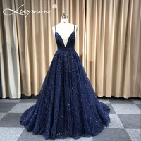 Robe De Soiree Glitter Shiny Evening Dress Real Sparkling Navy Blue Sexy Evening Party Specail Occasion Long Formal Dresses