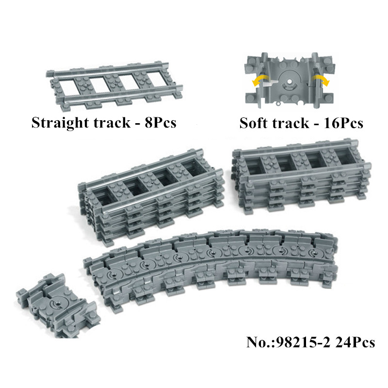 IN STOCK NEW Building 98215 Blocks Toys for Children Rail Tracks for Train Straight & Curved furcal & soft Tracks train Toys gonlei toys for children building blocks rail tracks for train straight
