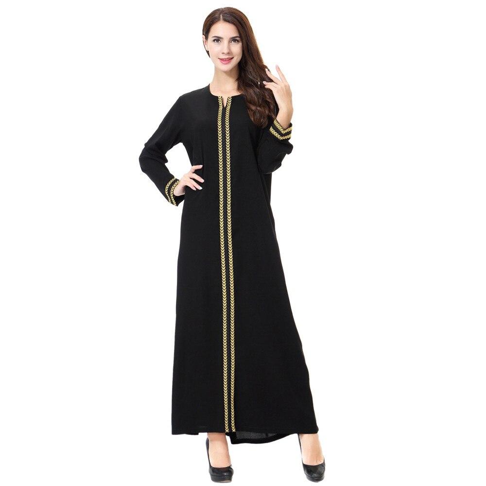 2019 Femmes DE MODE Lady Quotidien décontracté Musulman Soild à manches longues Long Vintage Fasion Robes livraison gratuite 3.14