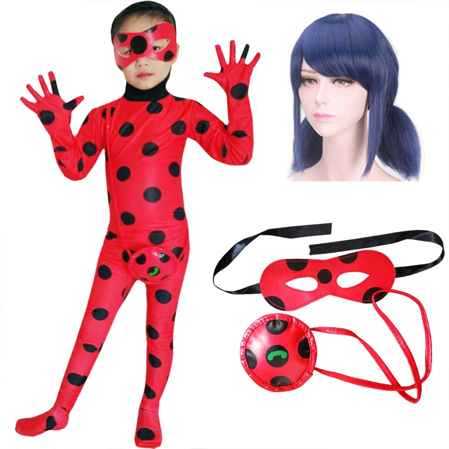 Fantasia Spandex Ladybug Costumes Kids Adult Cosplay Christmas Party Girls Children Lady Bug Zentai Suit Halloween Costume Wig
