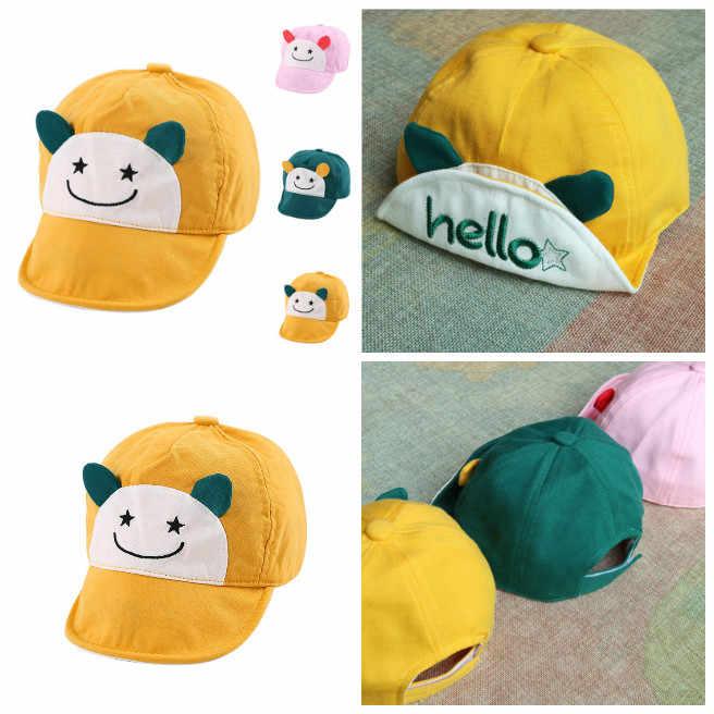Spring Autumn Kid Baseball Cap Soft Brim Cotton Hello Cute Hat Newborn Infant Boy Girl Peaked Caps For 6-24 Months Baby