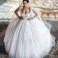 Vintage Vestidos De Novias Бисера Жемчуг Рукавов Бал Гоу с Низким Напряжением Вернуться Принцесса Кружева Свадебные Платья