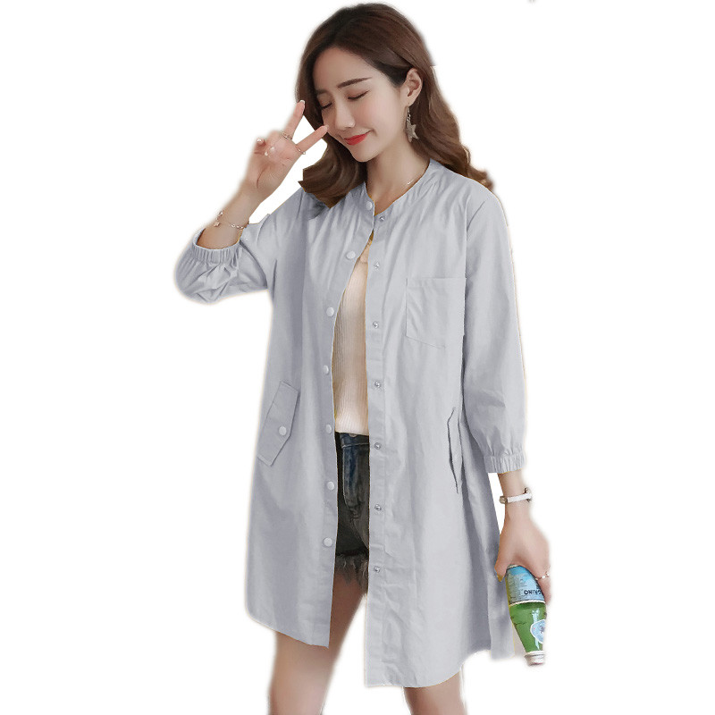 Summer women jacket 2018 new loose thin single-breasted Round neck female jacket medium long large size ladies windbreaker cw378