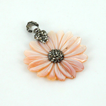 charms natural pink shell sun flower blossoms pave rhinestone pendant necklace for jewelry making DIY material for women