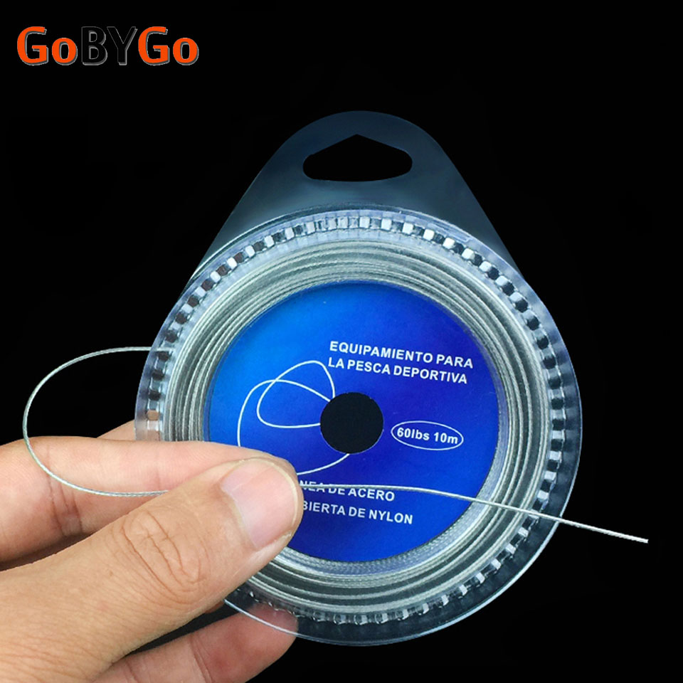 GoByGo Fishing Steel Wire Fishing Lines 10m Max Power 7 Strands Super Soft Wire Lines Cover with Plastic Waterproof GSX image