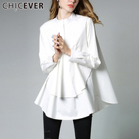 CHICEVER 2017 Autumn Black Women Dress Shirt Long Sleeve Stand Big Swing Plus Size Dresses Female