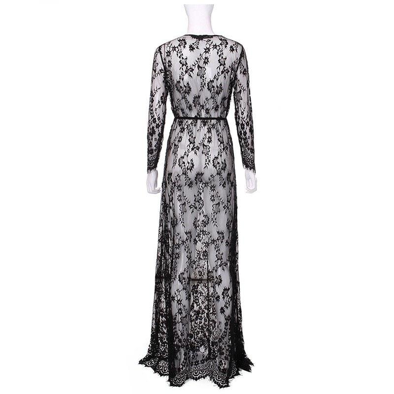 2019 Pregnant Lace Dress Women Front Split Long Maxi Maternity Black&White Lace Dress Gown Photography Prop See Through Dress (6)