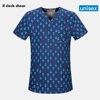 Unisex Scrub Top With V-Neck Cotton Breathable Print Surgical Medical Uniform Hospital Nurse doctor Scrub Tops For Women and men