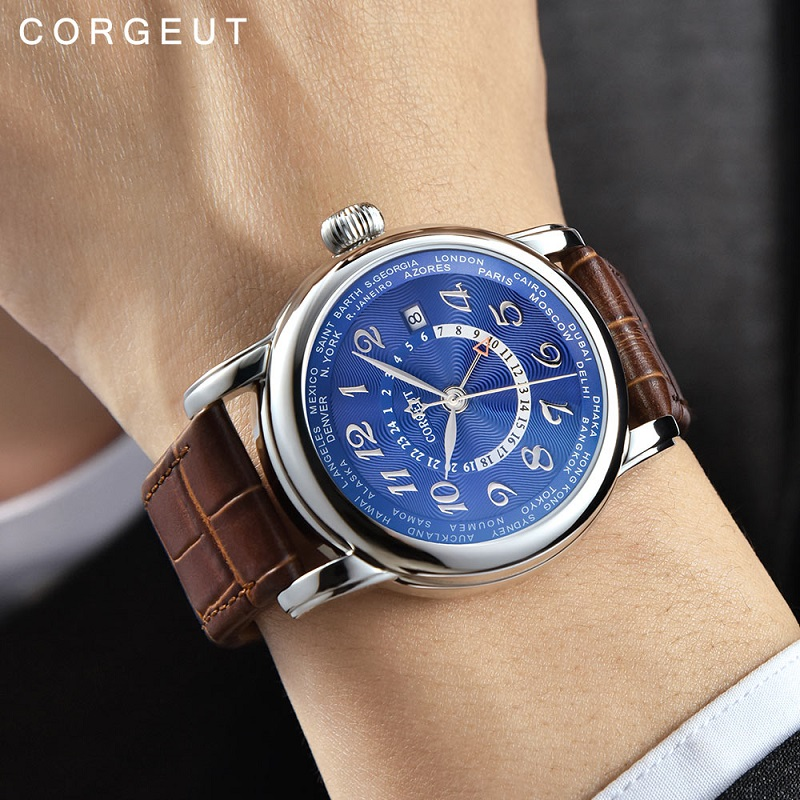 Corgeut Luxury Brand Mechanical Watch Fashion Leather Top Dual time zone GMT Automatic Watch Men Leather