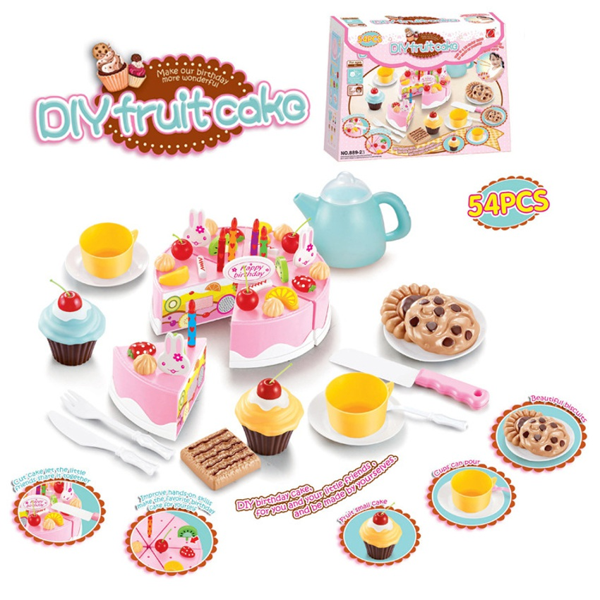54pcs kids kitchen toys birthday cake cut toys pretend for Cocina juguete aliexpress
