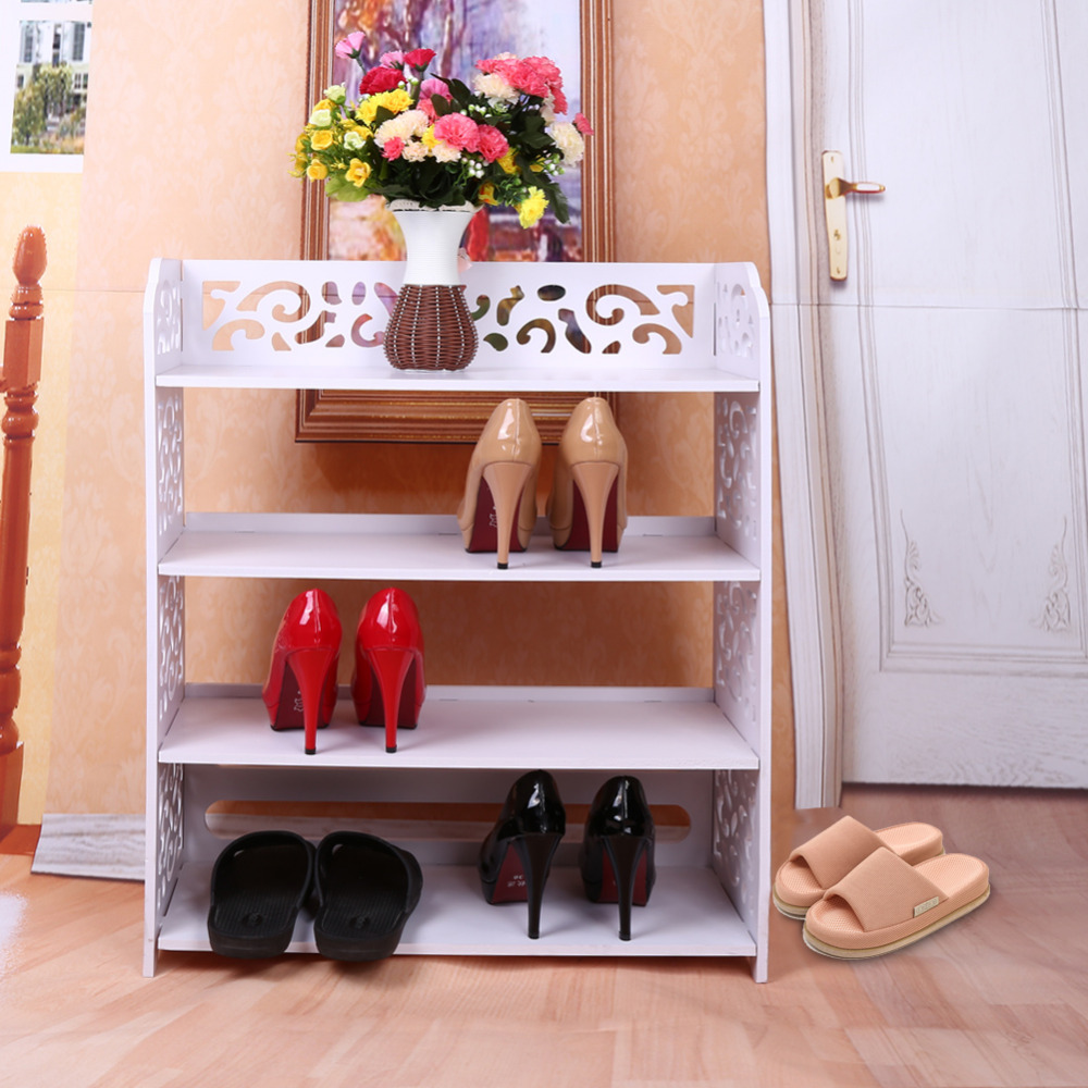 Shoe Cabinet Shoes Storage Organizer Shelf White WPC Fabric Shoe ...