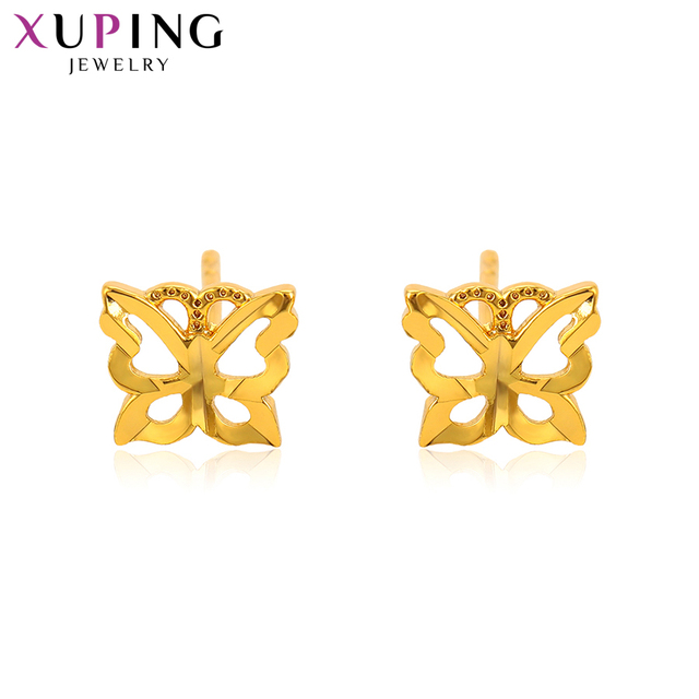 e2ef4c427d4bf0 Xuping Fashion Butterfly Shaped Earrings Pure Gold Color Plated Studs for  Women Girls Christmas Day Jewelry Gifts S78