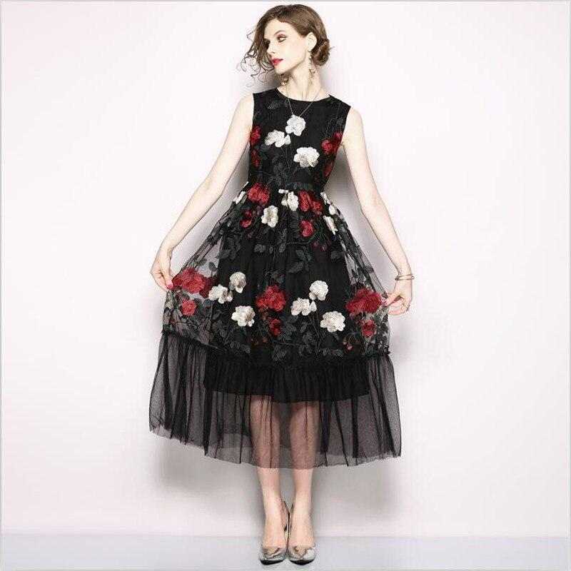 Nouveau été femmes noir maille dentelle Patchwork robe de réservoir haute rue Floral broderie Empire sans manches robe de soirée Vestidos