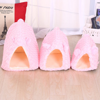 Cute Pink Dog Houses Short Velet Warm Romatic Kenels For Pets Cats Dogs Sleeping Beds Teddy