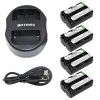 Batmax 4pcs NP FM500H NP FM500H Rechargeable Battery USB Dual Charger For Sony A57 A65 A77