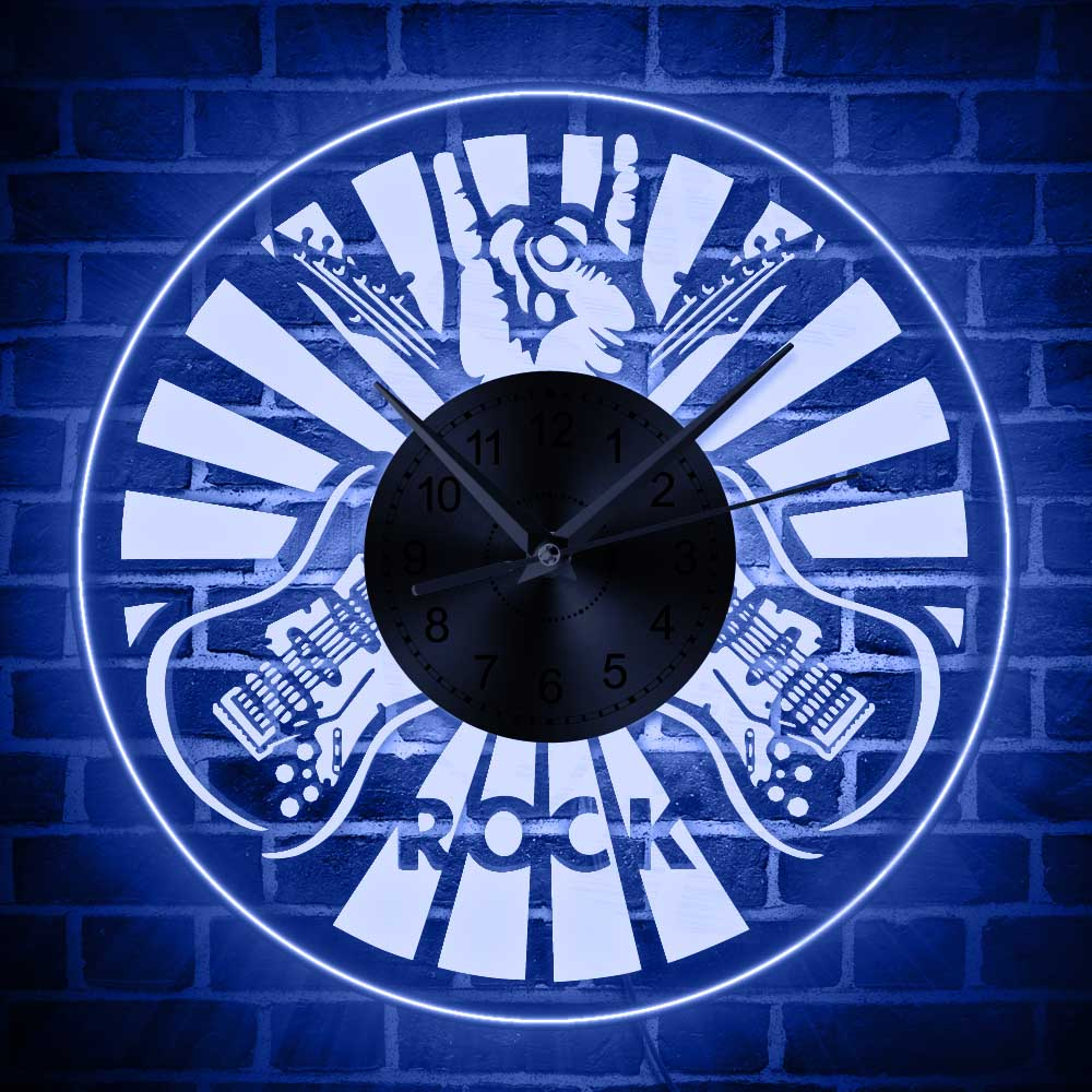 US $26 39 12% OFF|LED Rock Hand Sign Lighted Wall Art Home Decor Wall Clock  Electric Guitar Wall Watch with LED Backlight Modern Design Wall Clock-in